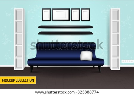 Mockup modern Interior template. Layout template. - stock vector
