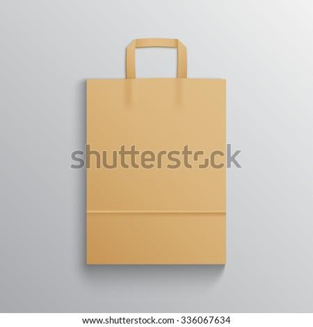 Mockup of Blank kraft paper bag for branding - stock vector