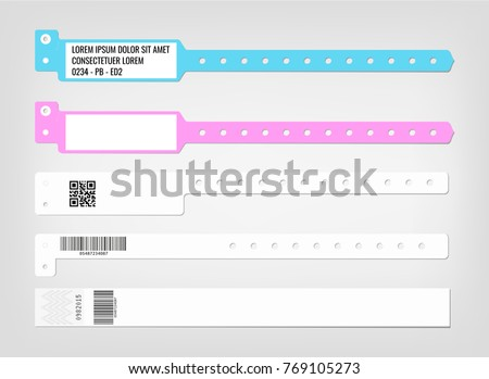 mockup of different models of bracelet and security codes suitable for hospitals and health centers