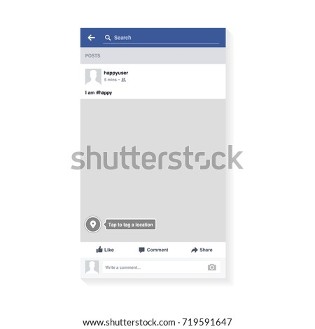 Mockup of social network photo frame inspired by Facebook and other social resources. Modern design. Vector illustration. EPS10.