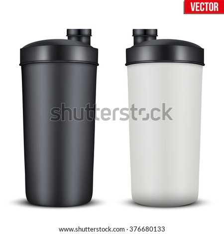 Mockup Plastic Sport Nutrition Drink Bottle. Whey Protein and Gainer. Vector Illustration isolated on white background