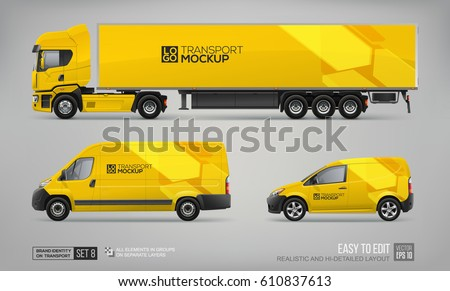 Mockup Set of Yellow Truck Trailer, Cargo Van, Delivery Car - vector template. Yellow graphic elements for transport Brand identity and Advertising. Set of delivery Transport. Vehicle branding Mock Up