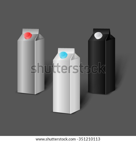 Mockup template for branding and product designs. Isolated realistic milk or juice carton boxes set with shadows. Easy to use for advertising. Isolated on dark background.