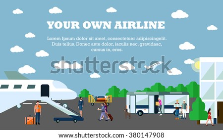 Mode of Transport concept vector illustration. Airport banner. Design elements in flat style. City transportation objects: airport, plane, bus, departure, terminal. - stock vector