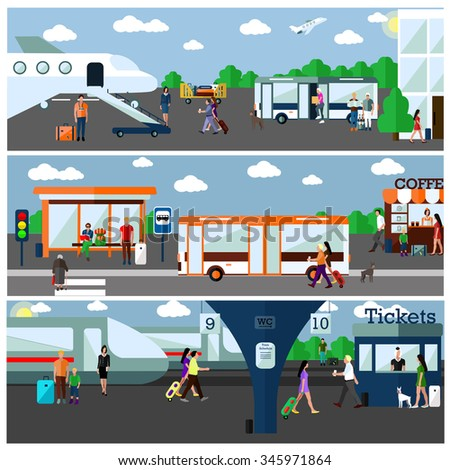 Mode of Transport concept vector illustration. Airport, bus and railway stations. Design elements and banners in flat style. City transportation objects: bus, train, plane, passengers - stock vector
