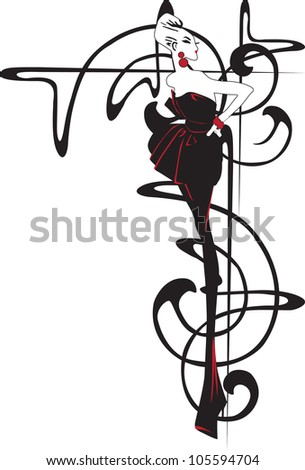 Model as a sketch on a background of retro designs - stock vector