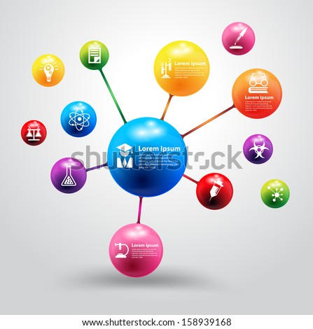Model of atom with chemistry and science icon education concept, Vector illustration modern design template, workflow layout, diagram, step up options - stock vector