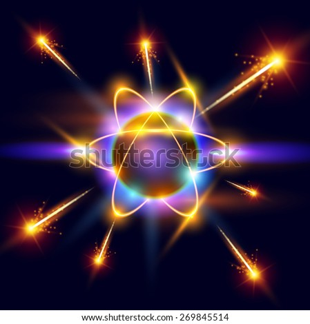 model of the atom and sparks around. Vector illustration / eps10 - stock vector