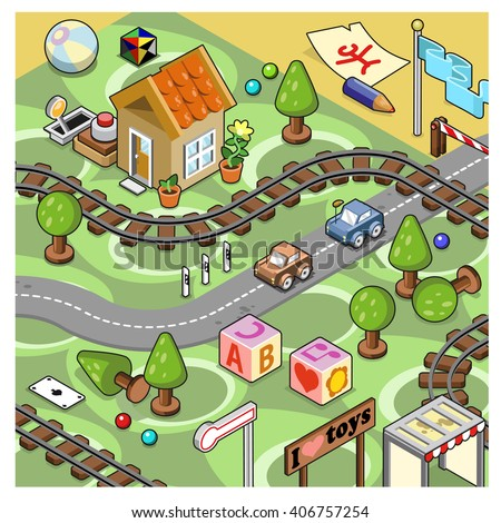 Model railroad track on a carpet with station, toys, miniature cars on street and a little cottage (isometric illustration)