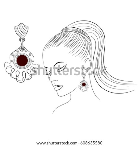 Model Shows Jewelry Earrings Modern Decoration Stock Vector