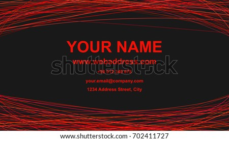 modern abstract business card template design vector corporate card with red curves on black