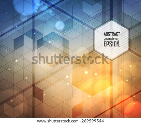 Modern abstract design. Geometric pattern. Mosaic colorful background of geometric shapes. Background of hexagons, lighting effects, blurred light. Vector illustration. - stock vector