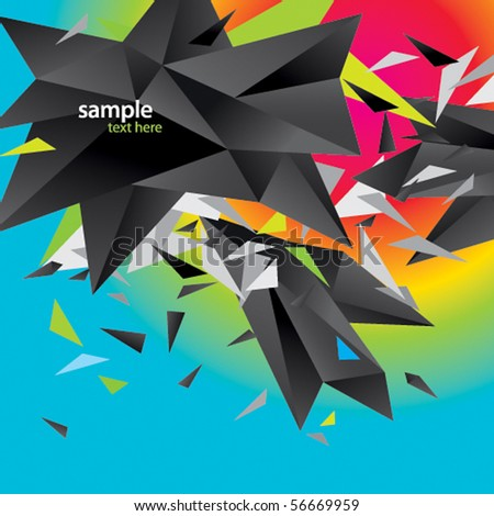 Modern abstract figure of black triangles surrounded flying splinters on a colorful background - stock vector