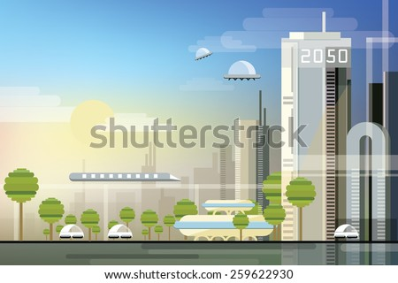 modern abstract futuristic urban cityscape in trendy flat design style  - stock vector