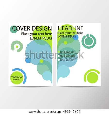 modern abstract geometric background. blue,yellow & green concentric circles. White Cover design template business brochure, booklet, leaflet, magazine. template advertisement. vector 10 EPS