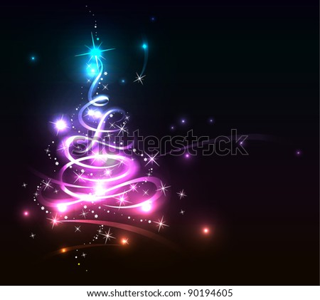 Modern abstract glowing christmas tree, eps 10 - stock vector
