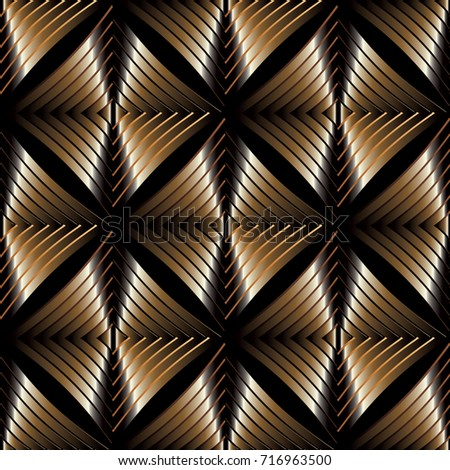 Modern Abstract Gold Striped Seamless Pattern On The Black Background Ornamental Geometry 3d Wallpaper