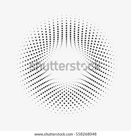 Modern abstract illustration made of small particles. Monochrome background with halftone circles. Twisted round shape with an array of dots. Element of design.