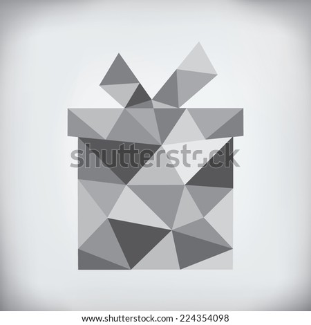 Modern abstract style - origami paper holiday gift box design - stock vector