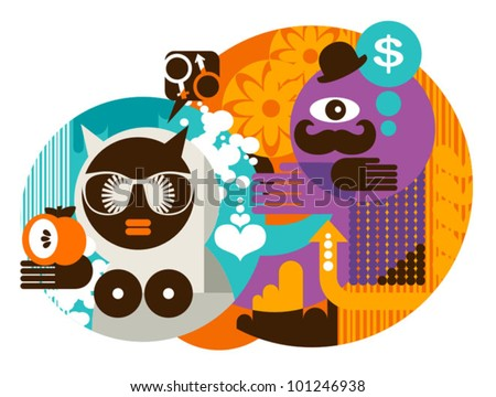 Modern Adam and Eve. Abstract vector illustration. - stock vector