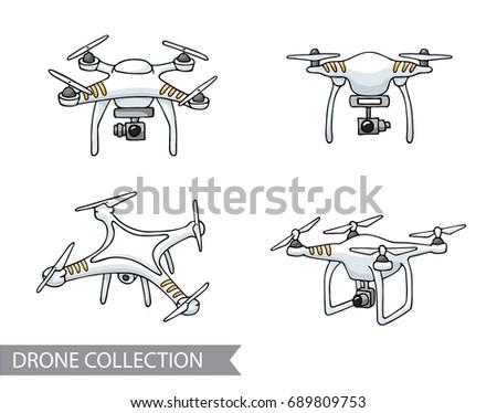 Modern Air Drone Remote Control Drone Stock Vector 689809753