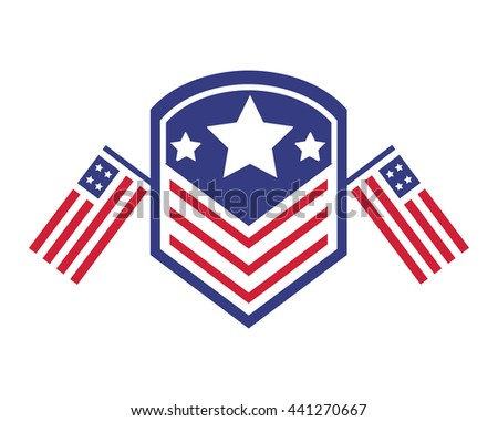 Modern American Independence Day Logo - Proud Honor Army Memorial Badge