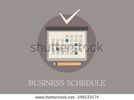 Modern and classic design business schedule concept flat icon - stock vector