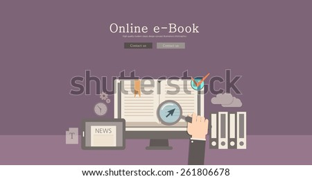 Modern and classic design online e-book concept illustration - stock vector