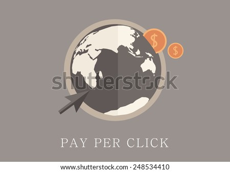 Modern and classic design pay per click concept flat icon - stock vector
