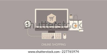Modern and classic online shopping flat illustration - stock vector