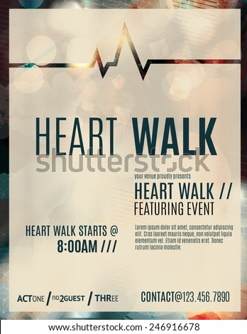 Modern and classy flyer or poster template design layout to promote a heart walk fundraiser - stock vector