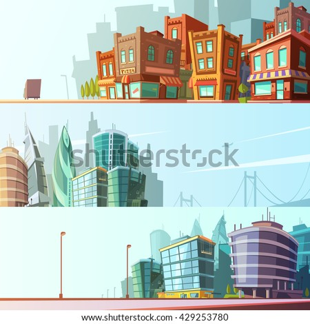 Modern and historical bay area street view day skyline 3 horizontal banners set cartoon isolated vector illustration - stock vector