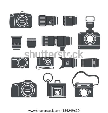 Modern and retro photo technics silhouettes - stock vector