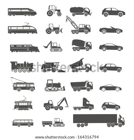 Modern and retro transport silhouettes collection isolated on white - stock vector