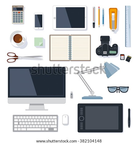 Modern and traditional office supplies vector collection isolated on white - stock vector