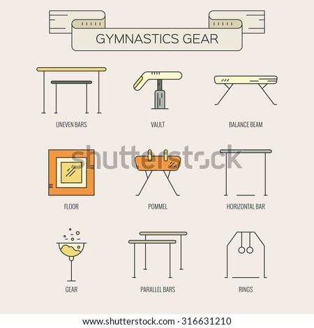 Modern and unique Artistic gymnastics icons and symbols collection made in modern linear vector style. Athlete or gymnast icon collection. Unique and modern set isolated on background.  - stock vector