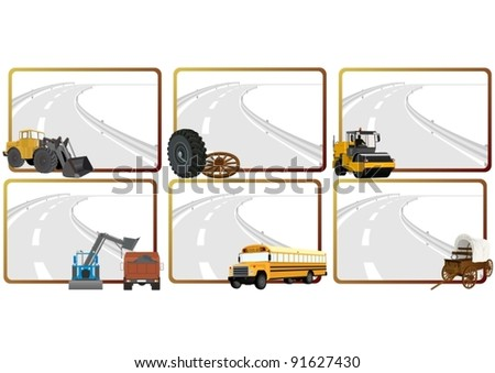 Modern and vintage vehicles, road construction machinery in the background of a frame with an asphalt road - stock vector