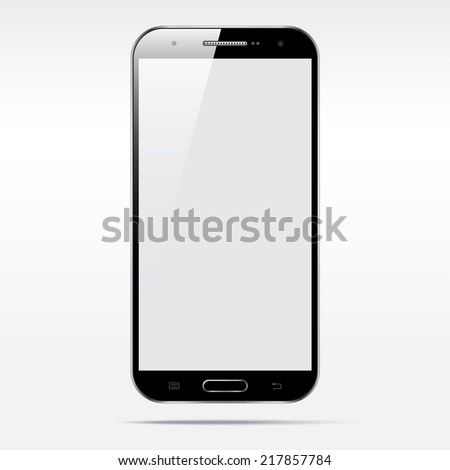 Modern android touchscreen cellphone tablet smartphone isolated on light background.  Empty screen - stock vector