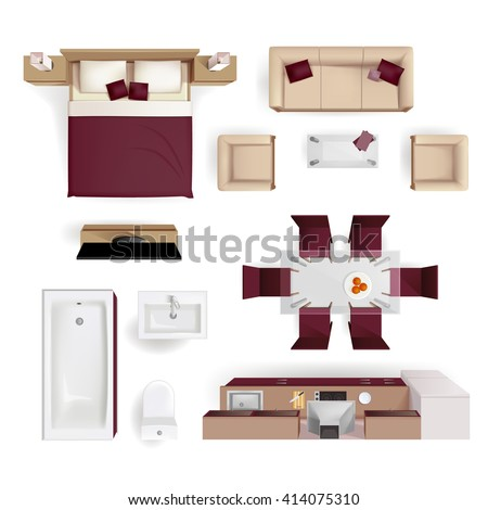 Modern apartment living room bedroom and bathroom furniture design elements top view image realistic vector illustration   - stock vector