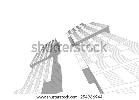 Modern architectural background. Building concept sketch.
