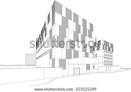 modern architectural sketches. Modern Architecture Building Background Architectural Sketches