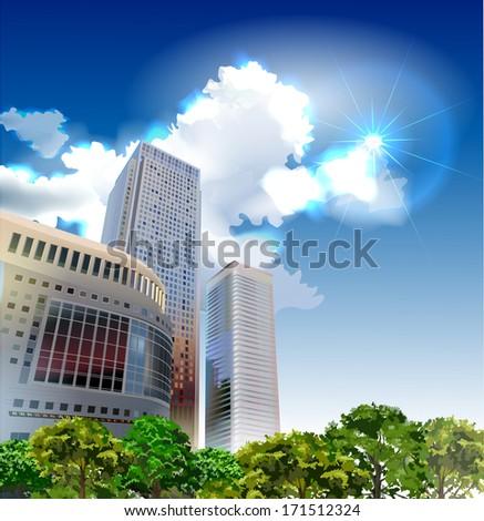 Modern arkhitecture illustration - stock vector