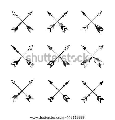 Modern Arrow Black Logos And Labels Set Doodle Sketched Decorative Arrows Hand Drawn Ethnic