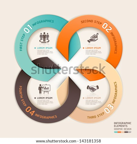Modern arrow circle business service origami style. Vector illustration. can be used for workflow layout, diagram, number options, banner, step up options, web design, infographics. - stock vector