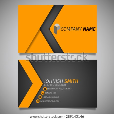 Modern arrow creative simple business card black and orange template vector