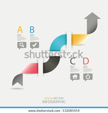 Modern arrow origami style number options banner, infographic. Vector illustration. - stock vector
