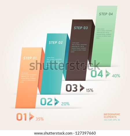 Modern arrow origami style step up number options banner template. Vector illustration. can be used for workflow layout, diagram, web design, infographics. - stock vector