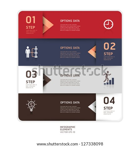 Modern arrow origami style step up options banner. Vector illustration. can be used for workflow layout, diagram, number options, web design, infographics. - stock vector