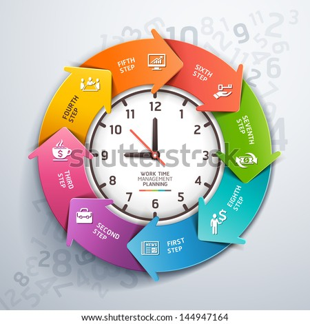 Modern arrow work time management planning infographics template. Vector illustration. can be used for workflow layout, diagram, number options, step up options, banner, web design - stock vector