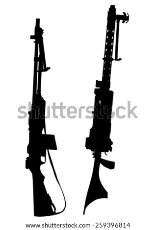 Modern automatic weapons on a white background - stock vector